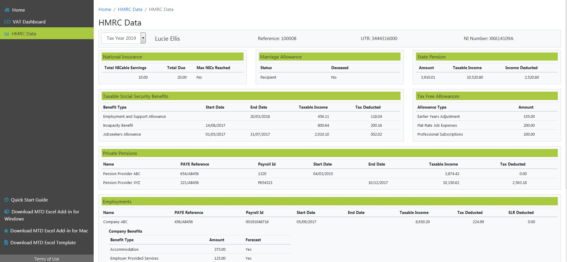 MTD for VAT HMRC Screenshot